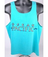 Vtg Op Ocean Pacific Tank Top Shirt-L-Aqua-Single Stitch-Sleeveless-Surf... - $46.74