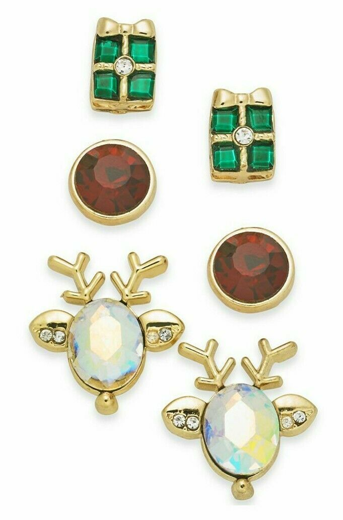 Charter Club Holiday Lane Gold-Tone 3-Pc. Set Reindeer & Present Stud Earrings
