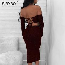 Sibybo Strapless Off Shoulder Bandage Long Dress Women Lace Up Long Slee... - $45.84