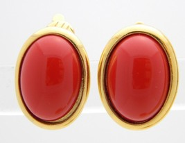 VTG TRIFARI TM Signed Gold Tone Red Lucite Cabochon Clip Earrings - $29.70