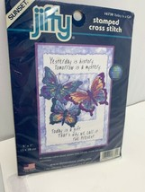 "Dimensions Jiffy Today Is A Gift Butterflies Stamped Cross Stitch Kit 5"" x 7""  - $10.20"