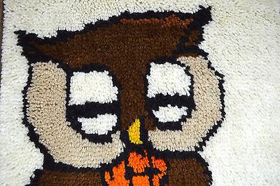 Vtg 70s Owl Boho Finished Latch Hook Framed Textile Knit Tapestry Wall Art Large
