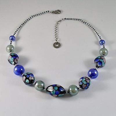 NECKLACE ANTIQUE MURRINA VENICE MURANO GLASS, OVALS BLUE SPOTTED, ADJUSTABLE