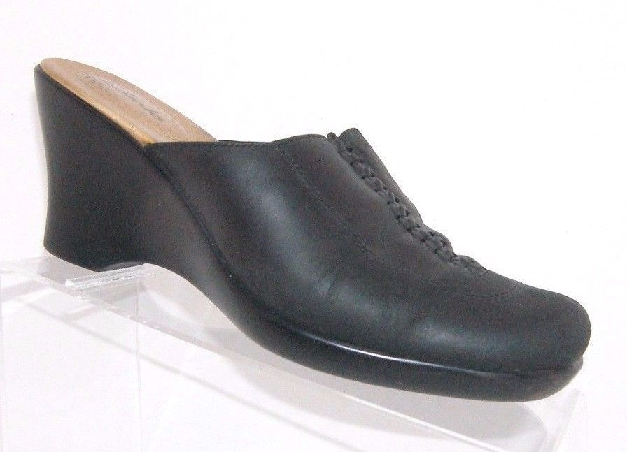 42b930b4c2 S l1600. S l1600. Previous. Clarks black leather square toe weave stitching  slip on wedge mule clogs ...