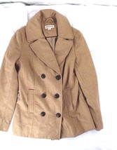 Merona Wool Double Breasted Sz S Trench Pea Coat Tan Winter knee length - $15.00