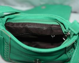 Non Branded Womens Parakeet Green Saddle Bag Purse With Shoulder Strap image 6