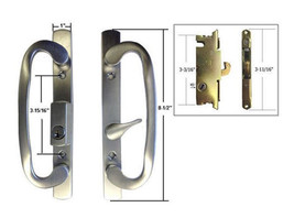 "Patio Door Handle Set Mortise Lock, Brushed Chrome, Keyed, 3-15/16"" Screw Holes - $79.15"