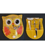 OWL shaped MANICURE SET Purse Yellow Bird Nail Clipper NEW - $4.99