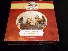 "Hand Painted 6"" Holiday Village 10 Piece Nativity Set Figurines Christmas - $39.59"
