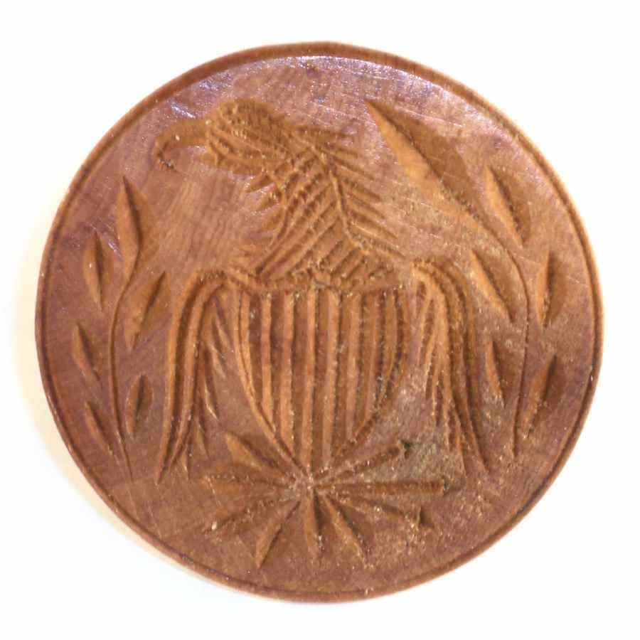 Vintage Carved Wood Primitive Butter Print American Eagle and Shield Design