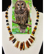 Barred Owl custom artisan handcrafted genuine red tiger's eye, coral, la... - $85.00