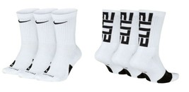 NIKE Elite Everyday Crew Socks 3-Pack White US Men's Shoes sz 8~12 , 12~15 - $18.95