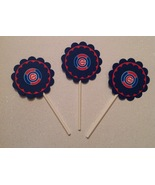 Mlb Chicago Cubs Cupcake Toppers Party Deco Baseball Birthday Blue Handm... - $12.00