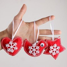 3Pcs Handmade Felt White Snowflake Pattern Gift Tag Christmas Tree Ornaments - $5.99