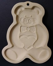 Pampered Chef Family Heritage 1991 Teddy Bear Cookie Mold Stoneware EUC - $12.49
