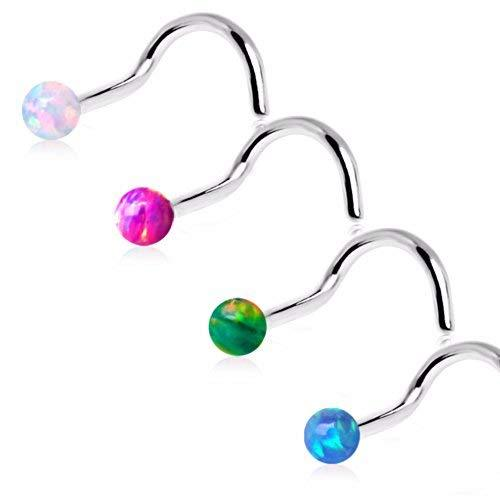 Primary image for 316L Stainless Steel Screw Nose Ring with Synthetic Opal