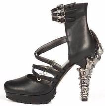 "Sexy Hades VERNE Black Strappy Closed Toe Sandals 5"" High Chrome Talon Heels - $141.00"