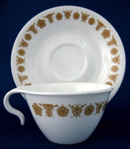 1970s Corelle Butterfly Gold Hook Handle Cup And Saucer Milk Glass Corelle - $8.00
