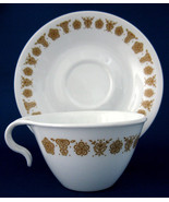 1970s Corelle Butterfly Gold Hook Handle Cup And Saucer Milk Glass Corelle - $20.00