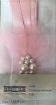 NEW in Pkg Celebrate It Pink Sash Decorated With Tulle & Pearl Accents 6... - $3.00