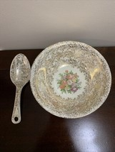 Vintage Homer Laughlin Atlas China Gold Serving Bowl with Spoon - $30.67