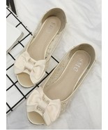 Gold Bowtie Open Toe Flat Shoes/Gold Peep Toe Flats/Champagne ballet flats shoes - $38.00