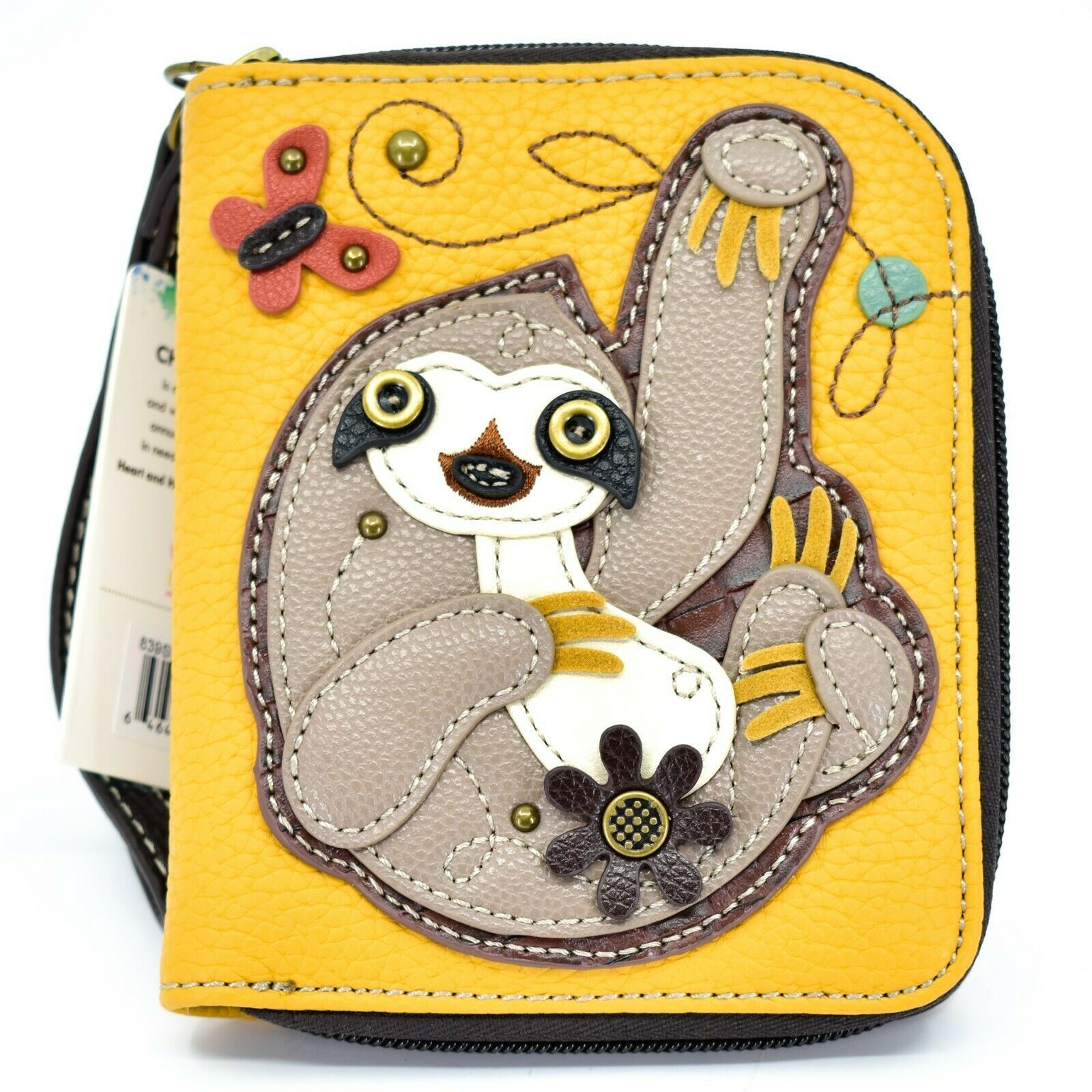 Chala Handbags Faux Leather Whimsical Sloth Mustard Zip Around Wristlet Wallet
