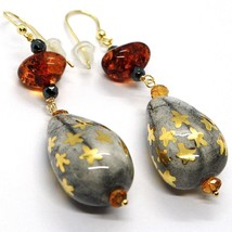 18K YELLOW GOLD EARRINGS AMBER, CITRINE POTTERY DROPS HAND PAINTED IN ITALY STAR image 2