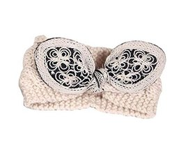 Soft Wool Knitted Headband Charming Bowknot Hair Band, BEIGE