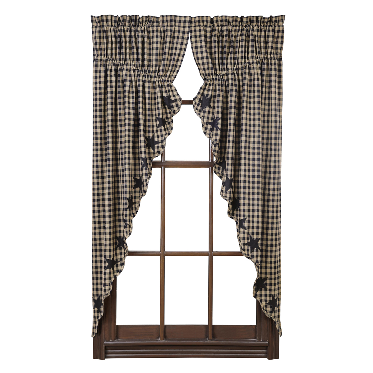 BLACK STAR Scalloped Praire Curtains - Set of 2 -63x36x18- Black/Tan -VHC Brands
