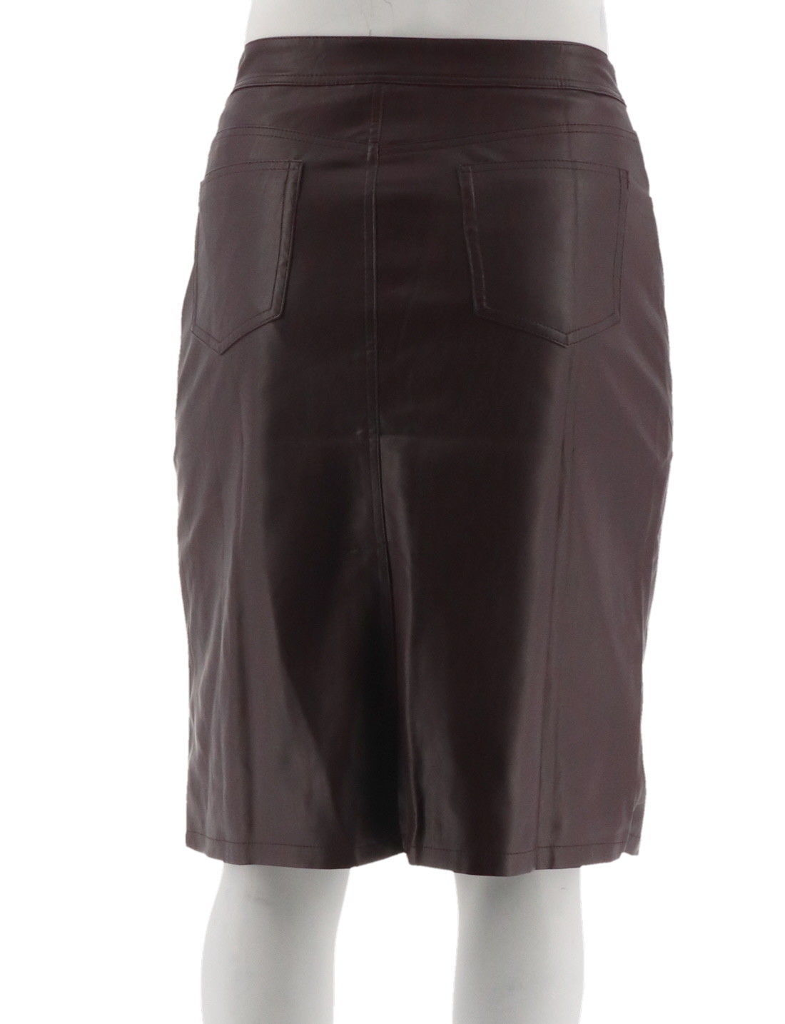 Denim & Co Mid Length Faux Leather Boot Skirt Deep Burgundy 12 NEW A270189