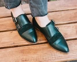Two Tone Women's Monk Green Suede Double Buckle Strap Cap Toe Unique Dress Shoes - £105.17 GBP - £145.62 GBP