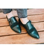 Two Tone Women's Monk Green Suede Double Buckle Strap Cap Toe Unique Dre... - $129.99+
