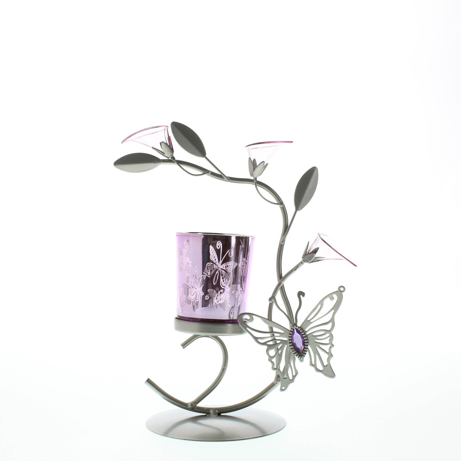 Candle Holders Flower, Colored Decorative Candle Holder Metal - Butterfly Lily image 4