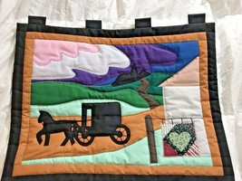 New Machine Quilted Wall Hanging Amish Horse & Buggy home country Scene ... - $38.79