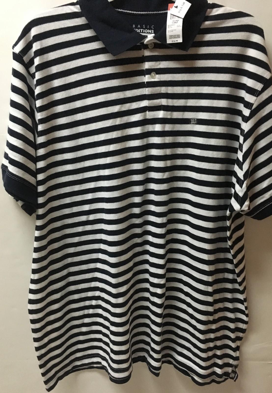 Men's Big & Tall Polo Shirt 3XLT White & Dark Sapphire Stripes NWT