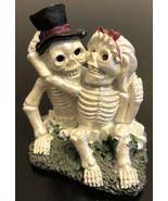 "Love Never Dies Wedding Skeleton  Kissing Couple  3"" Statue - $9.90"