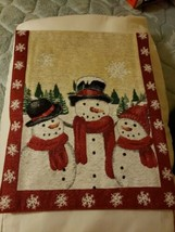 "St Nicholas Square Snowman Tapestry Table Runner Red Glitter Sparkle 13""... - $14.85"