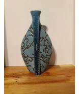 Large 13 inch Blue Vase with imprinted design in brown/black color - Kir... - $42.08