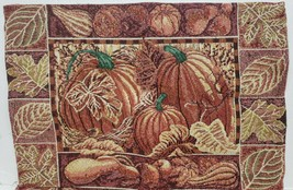 "Set of 4 Tapestry Placemats, 13""x18"", FALL HARVEST, LEAVES & PUMPKINS, HC - $21.77"