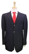 FRANCO PRINZIVALLI  Sartoria Bespoke Black w/ Blue Thin Stripes Wool Sui... - $238.00