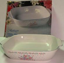 Vintage Fantasia Collection Japan 9 x 9 baking dish Floral Pattern Stone... - $29.99