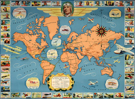 Early Pictorial Map Famous Flights & Air Routes of the World Wall Poster... - $12.38