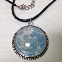Beautiful, Rare 1.25in Round Blue Willow Pendant 18in Black Cord Necklace - $12.30