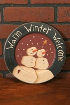 Country new WARM WINTER WELCOME SNOWMAN wood decor plate / nice - $14.01