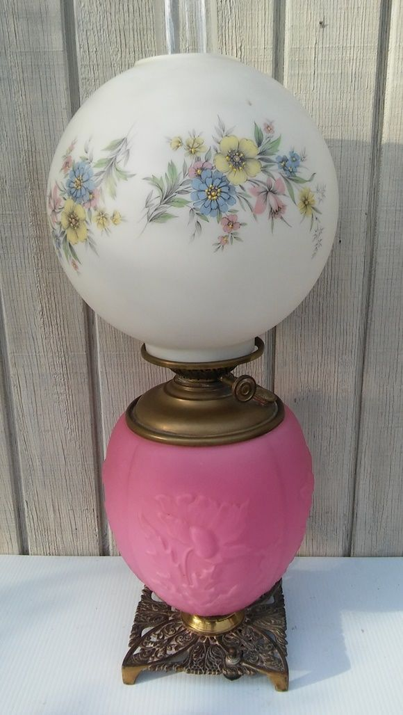 FREE SHIPPING! Antique Gone With The Wind Lamp Pink Satin Pittsburgh Glass c.190