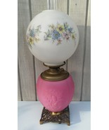 FREE SHIPPING! Antique Gone With The Wind Lamp Pink Satin Pittsburgh Gla... - $225.00