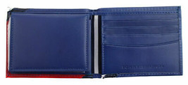 Tommy Hilfiger Men's Leather Wallet 31TL22X051 Billfold Red Navy New w/Defect
