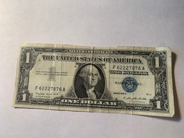 1957 One Dollar Well Circulated Rare Blue Certificate Note - $1 Bill - $3.96