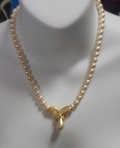 Vintage Signed Napier Gold-tone Faux Pearl & Rhinestone Necklace  Pat. P... - $34.65
